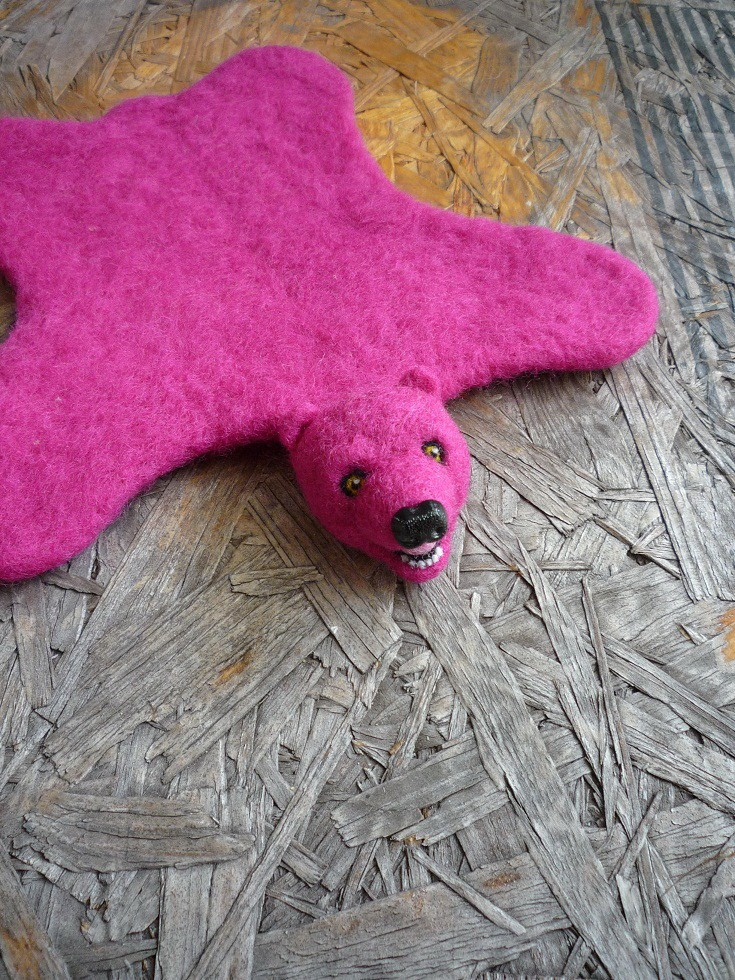 Big Pink Bear Rugs & Handcrafted Felt Taxidermy