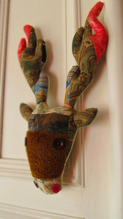 Patchwork Plush Stags' Heads by Gertrude Anna