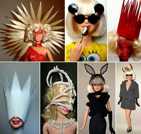 Barbie as Lady Gaga. Including the Meat Dress