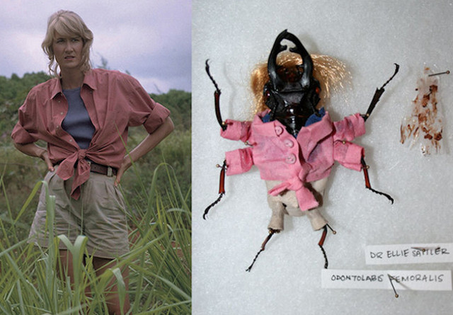 Taxidermied Insects wearing Jurassic Park Character Costumes