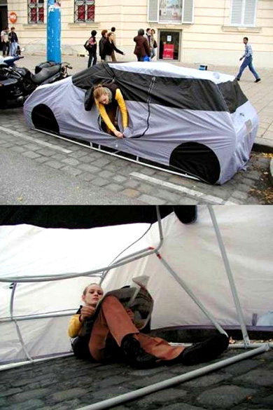 Sneaky City Camping- The Car Tent & Other Crazy Tents