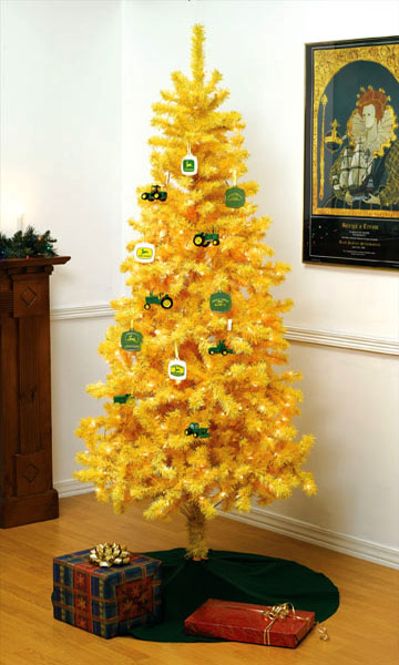 John Deere Tractor Yellow Christmas Tree & Ornaments