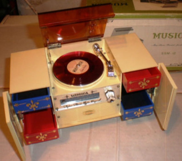 Quaint Mid-Centuary Faux Record Turntable Jewellery Box
