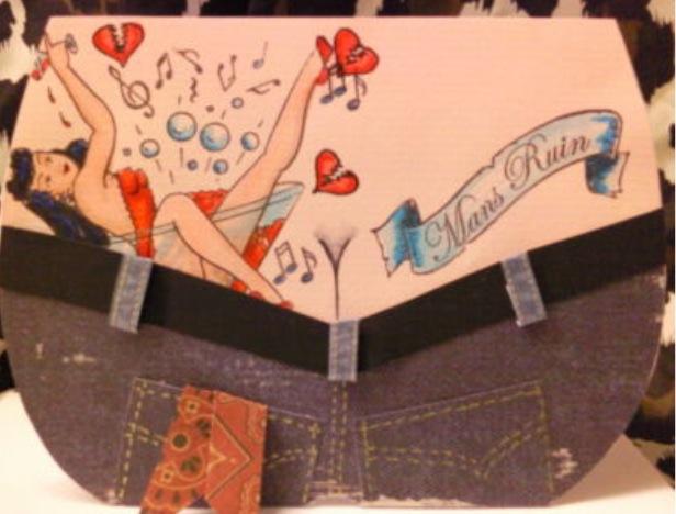 Rockabilly Tattoo Bum Greetings Cards