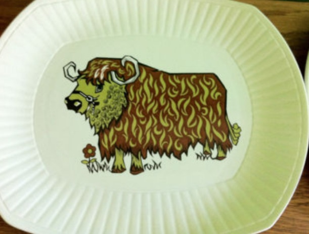 1960's Ironstone Beefeater Bull Print Platters
