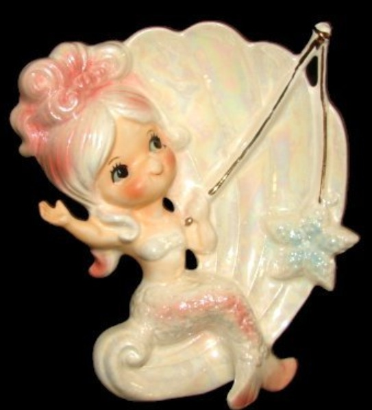 Lefton's Saucy Pin-Up Chalkware Mermaids
