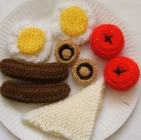 Novelty Knitted Food, Full Breakfast, Icecream & pudding