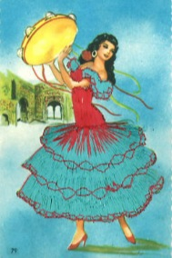 Retro, Stitched Spanish Flamenco Dancer Postcards