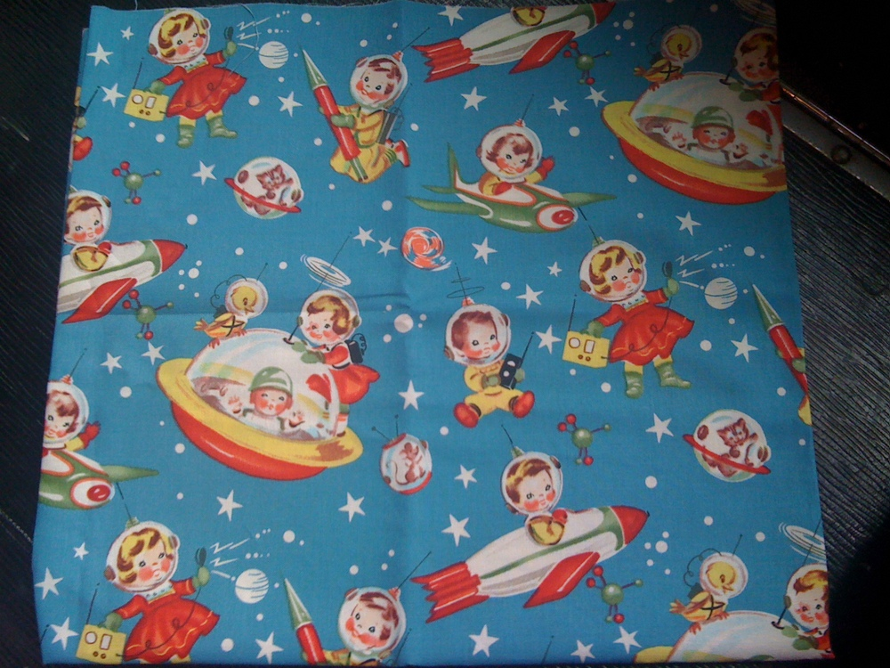 Rocket rascals 1950 39 s reproduction fabric the world of for Retro space fabric uk