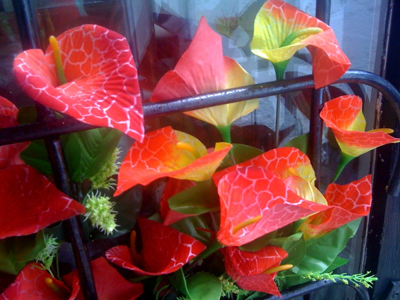 Kitschy Neon Fake Lily Display