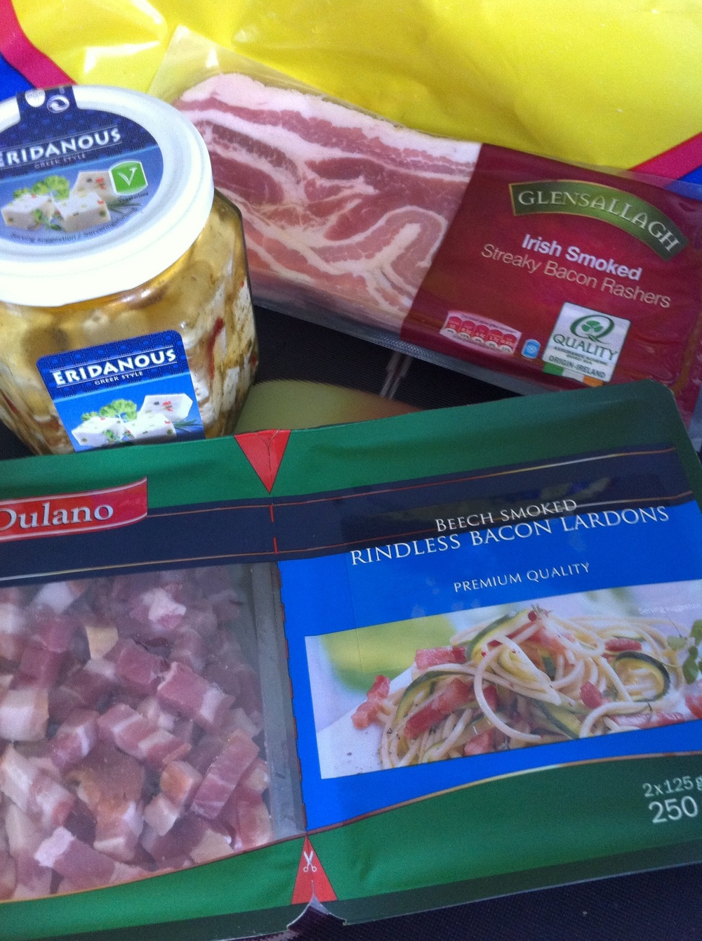 jar of feta £1.79   Smoked bacon £1.99.  Lardons £1.79