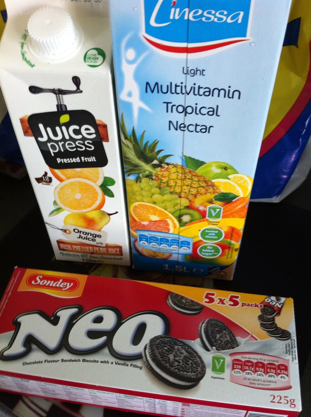 juice £1.29 each  own-brand Oreos £1.19