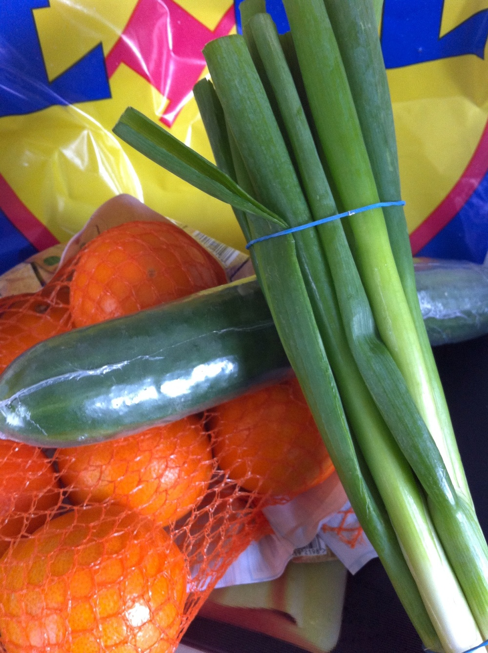 clementines £1.99.  Spring onions 73p.  Cucumber 29p