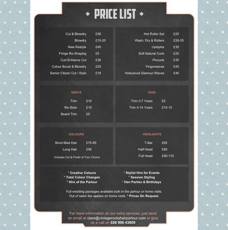 prices as of August 2013. phone Vintage Rocks to book a consultation, appointment, or to chat about any hair creations you have in mind that regular salons wouldn't dare do!