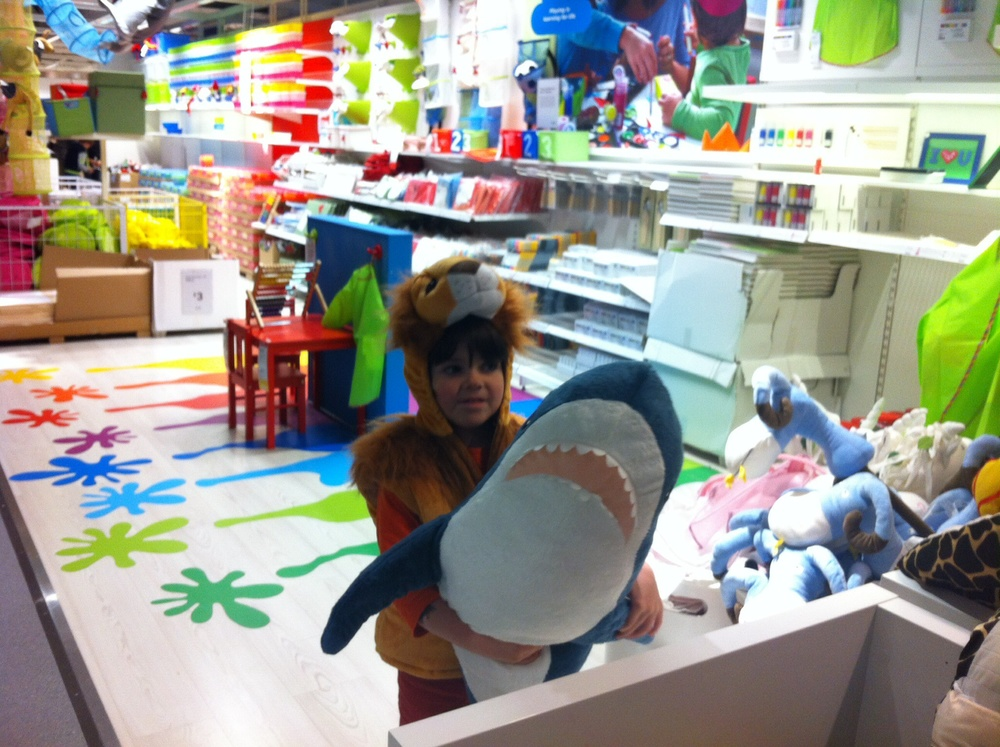 shark attack in the  revamped kids' department of the store