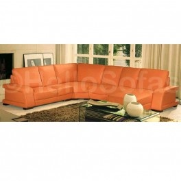 Juicy orange leather family sofa. Little bit Mad Men late 60s style