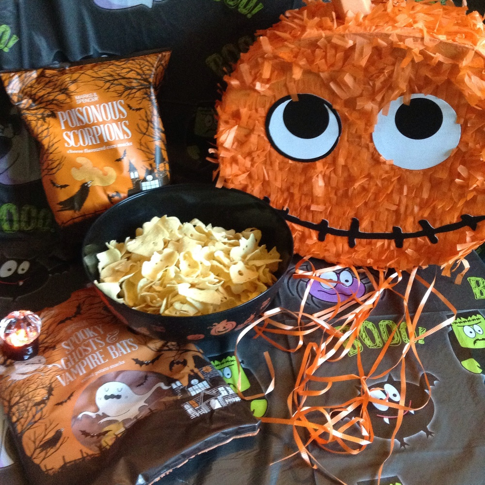 Pumpkin piñata £10 - Scorpion snacks or Spooky Ghosts & Vampire Bats 2 for £2 - Pumpkin Tealight £3.50