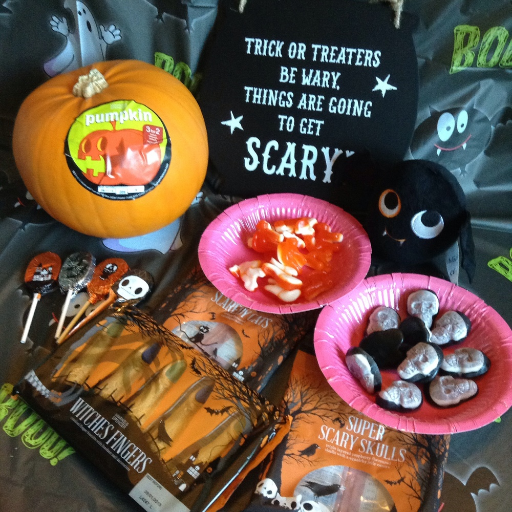 Trick or Treat sign £6 - Pull along bat £6 - Scaredy Cat Jellies £1.00