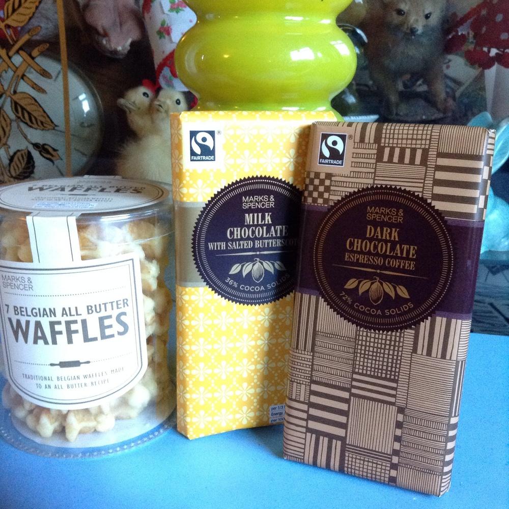 waffles £2, chocolate bars £2 each