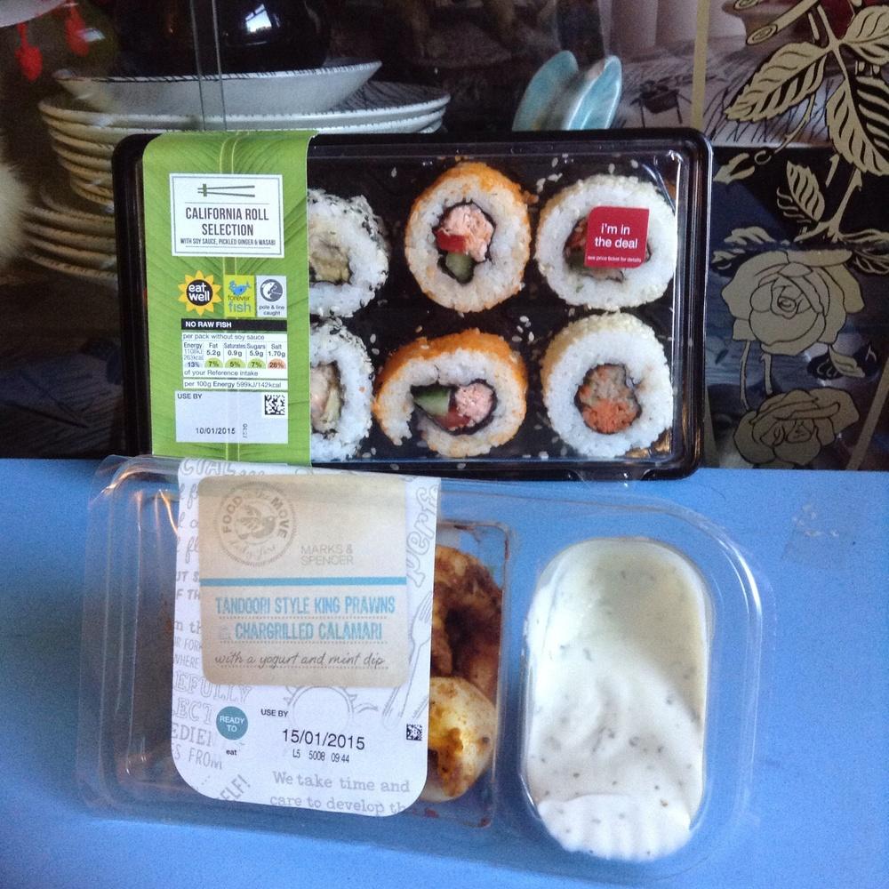 sushi £3.50, prawn dip £2.50