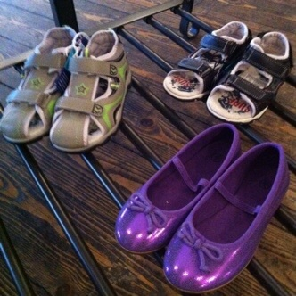 I have my eye on these purple pumps. Sure they are for kids, but they might go up to a size 4, right??
