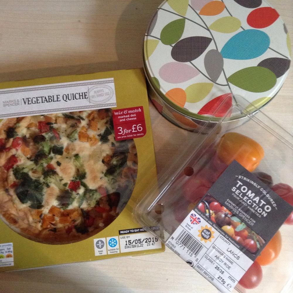 Quiche £2.50 : Tomatoes £2.30
