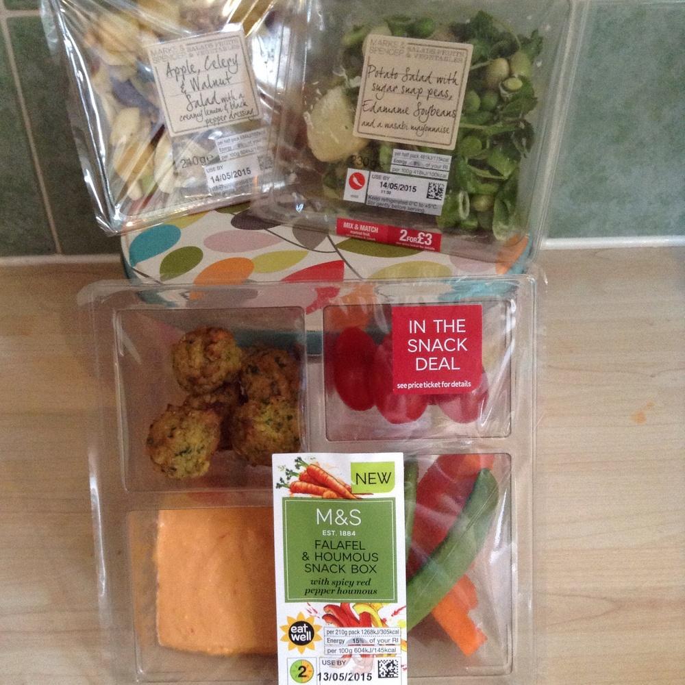 Waldorf Salad £2 : Wasabi Potato Salad £2 : Falafel Snack £2.70