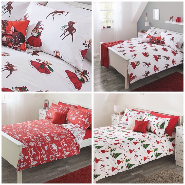 quilt tree with bedding itm ski red way all christmas santa cover stag set jingle the xmas pillowcase bed duvet