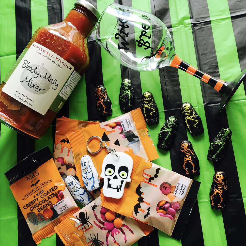 Bloody Mary mix £4.50 : Chocolate skeletons with keyring £2 : 6 packs of chocolate beans £2