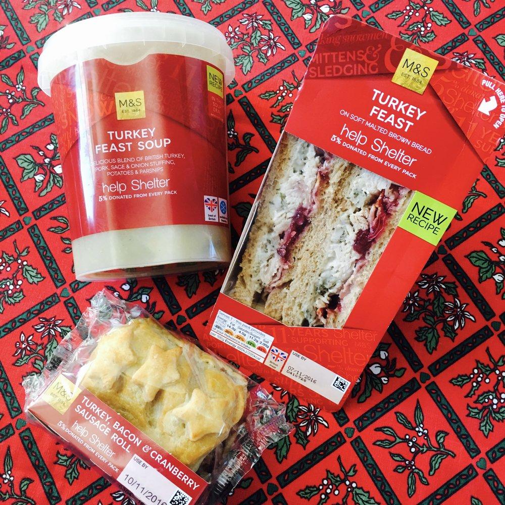 Soup £2.50 : Turkey feast sandwich £3.25 : Sausage roll £1.75