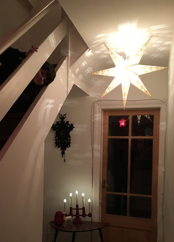 STRALA white star on roof fitting, LED candelabra