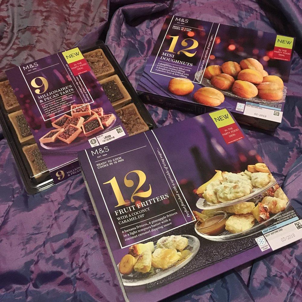 Pecan tarts £7 : Doughnuts £4 : fritters £4
