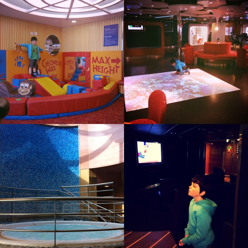 Clockwise: Soft Play Area - Trendy bar - Cinema - Spa