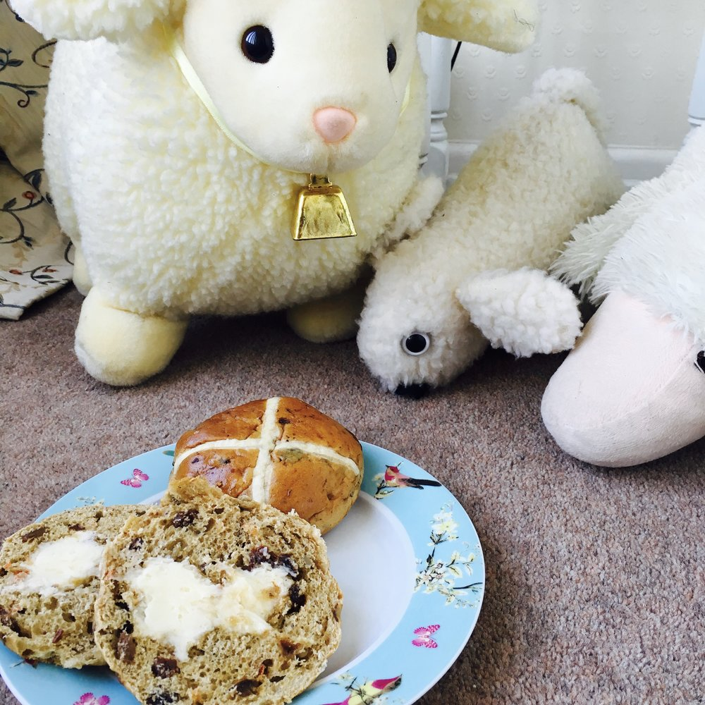 Cream cheese filled carrot cake Hot Cross Bun