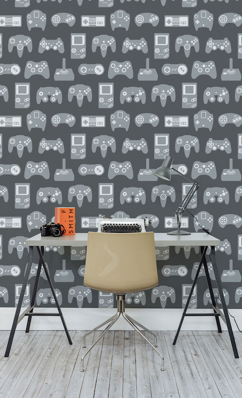 retro gaming wallpaper \u0026 other affordable, fun wall murals \u2014 thehow cool is this retro gaming design wallpaper?