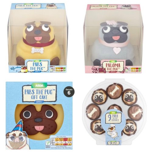 Asdas kitschest cakes from giant custard creams to dessert burger its the novelty cakes that i love and for pug admirers theres a whole range of pug cakes theres the full size pabs and paloma celebration party sized publicscrutiny Image collections