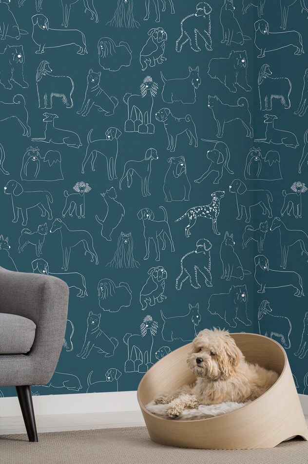 Deck The Walls With Paws So Jolly Cat Dog Print Wallpaper From Muralswallpaper The World Of Kitsch