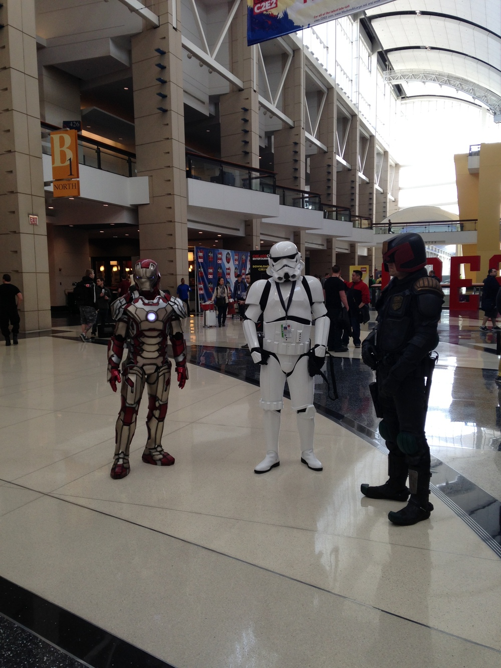C2E2 Cosplayer - Iron Man, Storm Trooper, and Judge Dredd