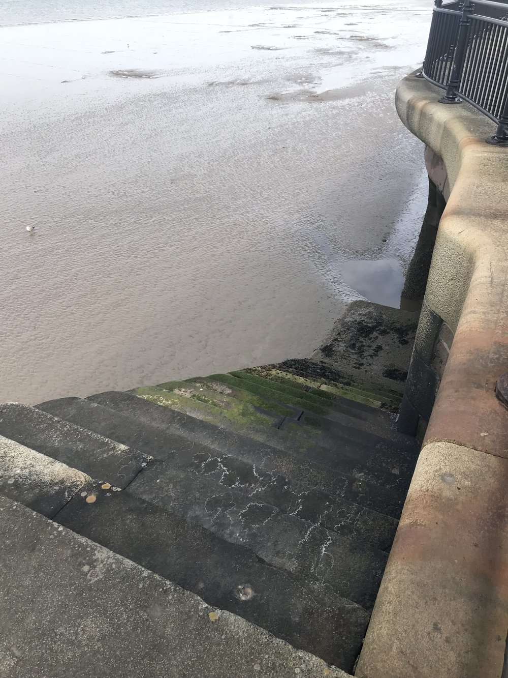 Stairs down to the river bed at low tide