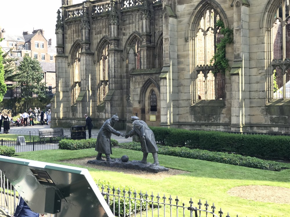 WW1 Christmas Truce Statue at the Bombed out church