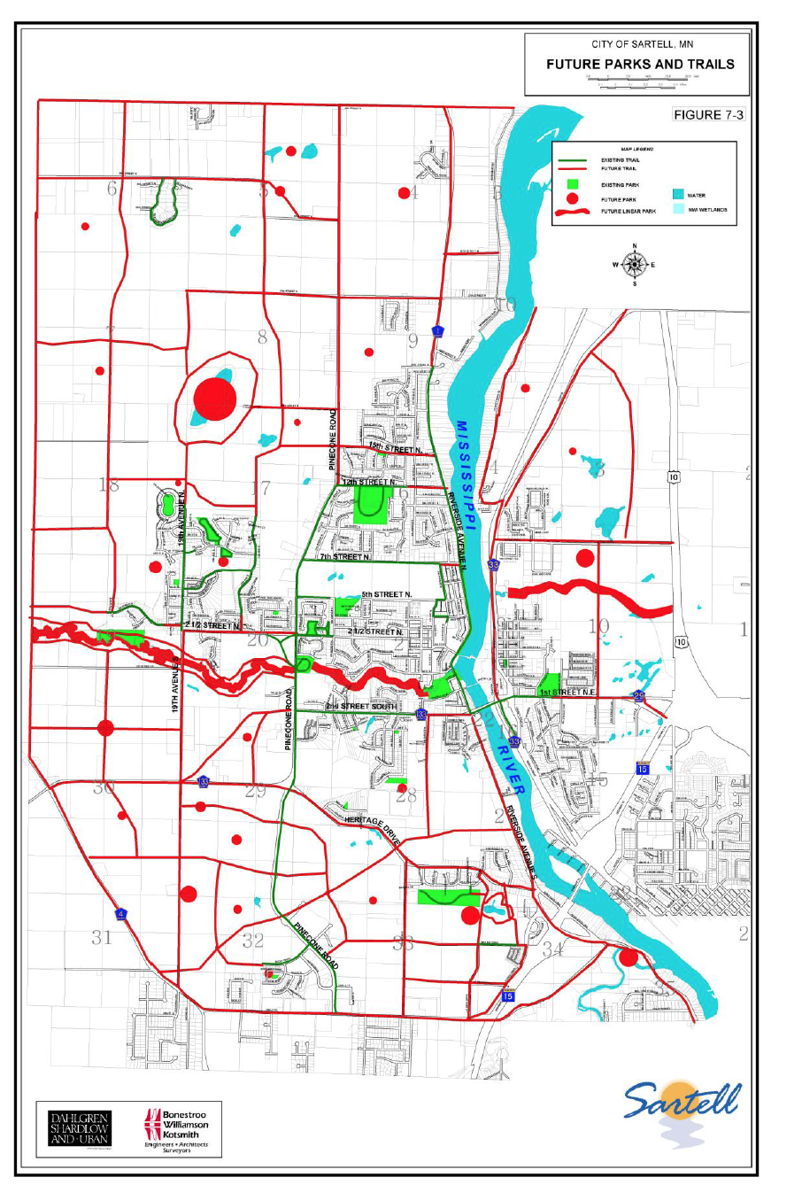 Red represents future parks or walkways. The red around Watab Creek makes me happy. I think that is something worth exploring.