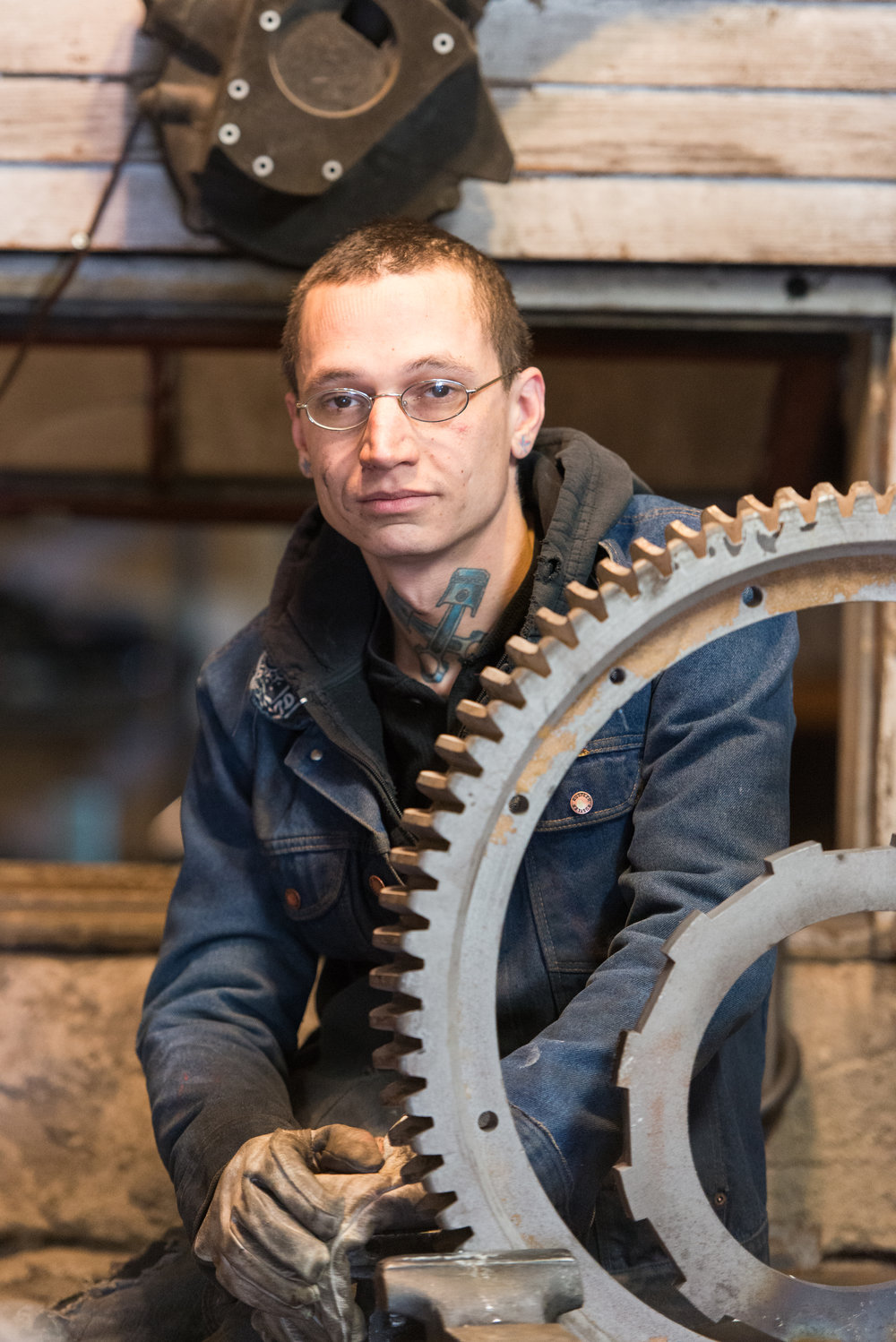 Custom motorcycle specialist, Jacob Smith,  worked with Joshua Faye. Jacob has over a decade of experience in metal fabrication and welding, utilizing his skills and talent to create one-of-a-kind motorcycles, sculptures and gates.