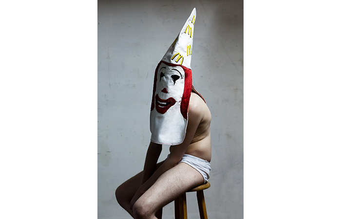 E rik Bergrin, Ronald McDonald KKK Hood, Ebroidered on Cotton, Dimensions Varied, 2011