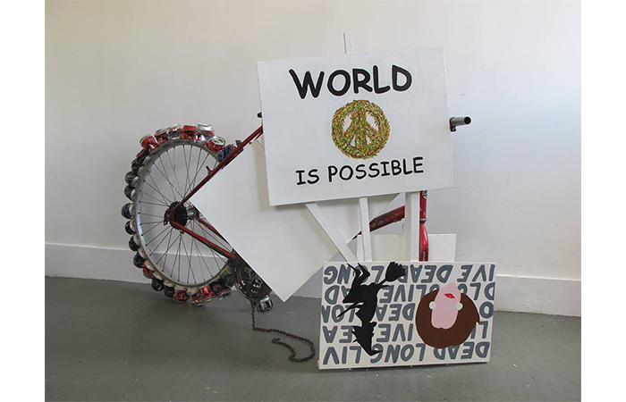 Mars Gomes, Protest Bike, Bicycle,  Cans, Board, Marker, Paint, Glue, 2013