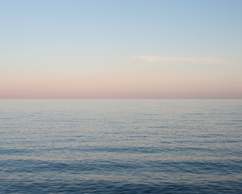 Lake Superior at dusk near Grand Marais, Minnesota. July, 2013.