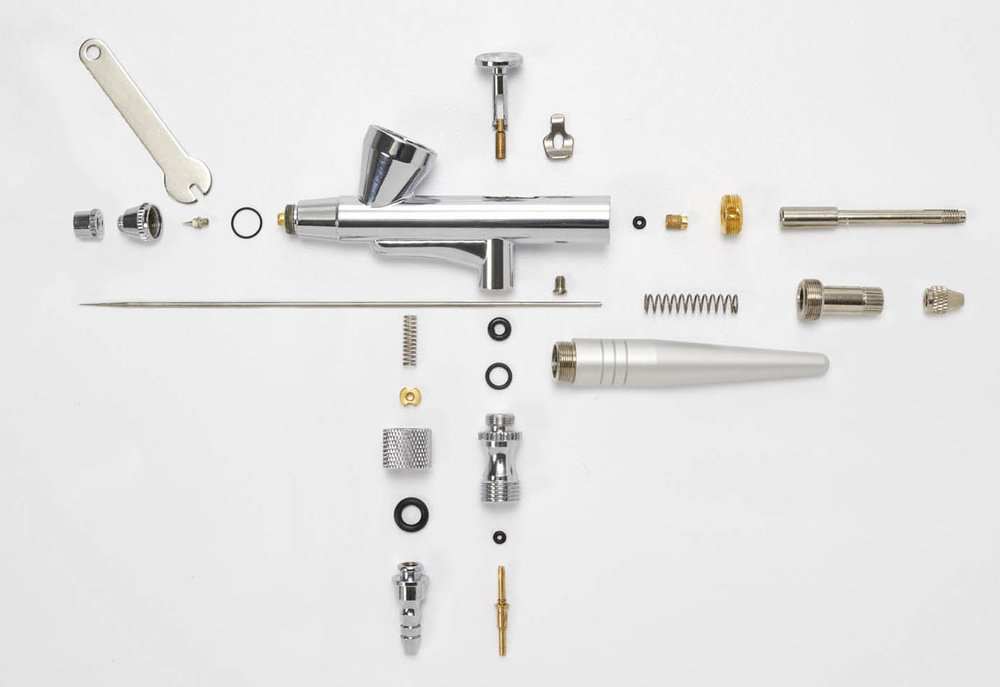 Deconstructed airbrush gun.  Product photograph taken for DecoPac catalog & website.