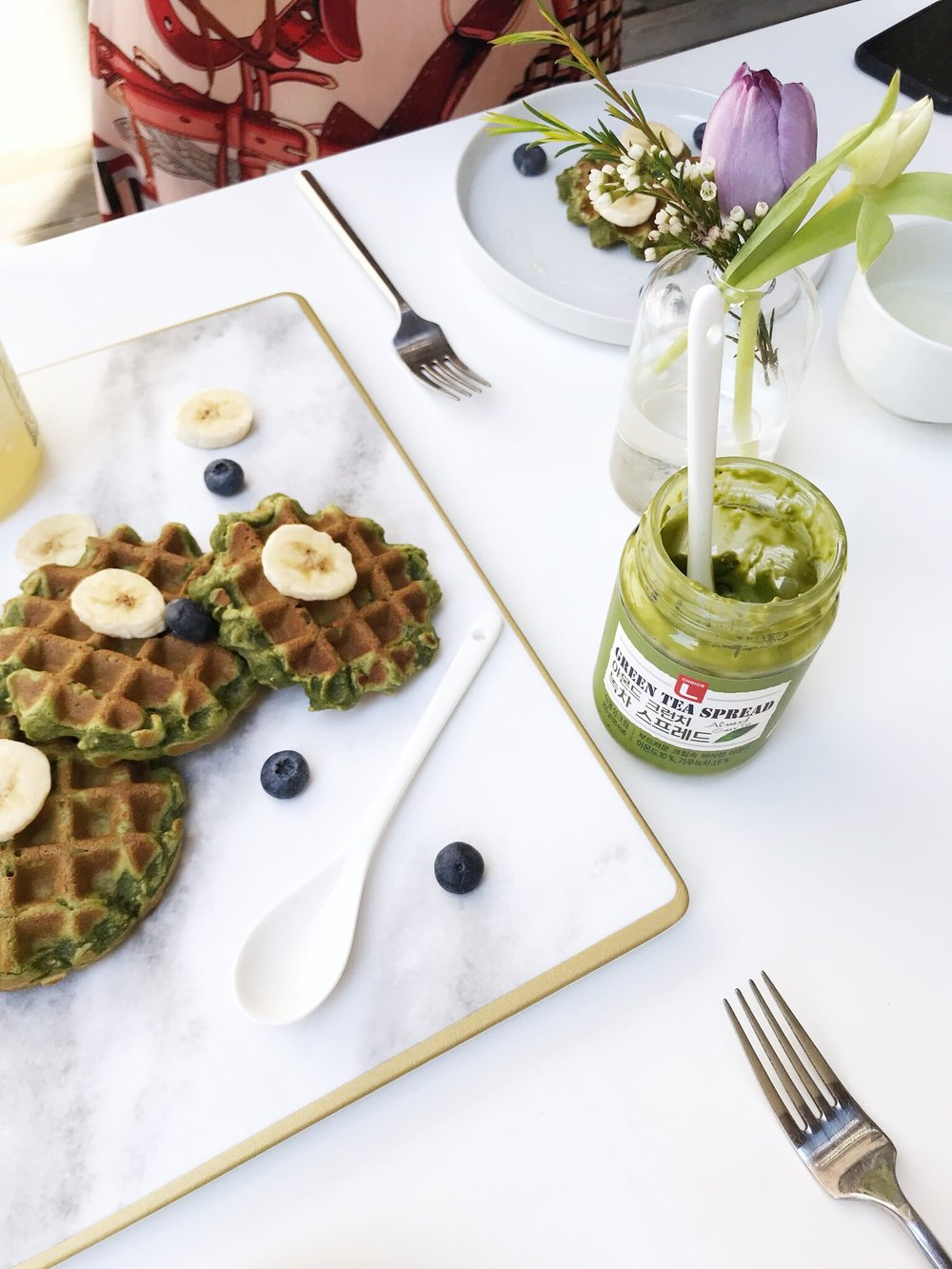 matcha mochi waffles green tea spread