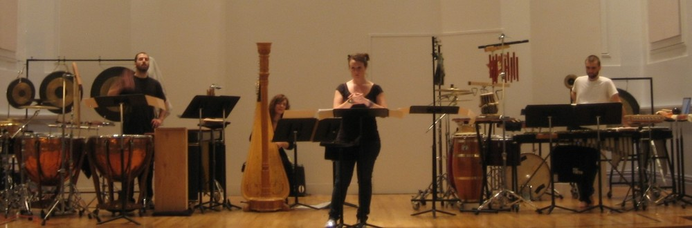 Dress rehearsal for Circles, performed with Mike Perdue and Jude Traxler, percussion, and Katie Andrews, harp.