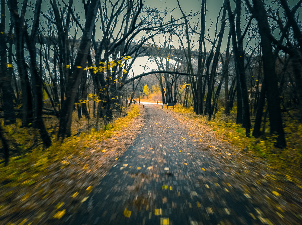 Yesterday morning the first snowflakes of the year fell mixed with rain and wind. The rain stopped by the afternoon, turning to classic damp gray fall weather. It was a perfect setting for an epic fall ride. With a day out of the MPR office, and few looming deadlines, I had a wonderful ride down past Fort Snelling, before looping back across Mendota Bridge to explore northern tip of the River Bottom trails. This is a iPhone snap from the ride. It was a great trail for a cyclocross adventure.