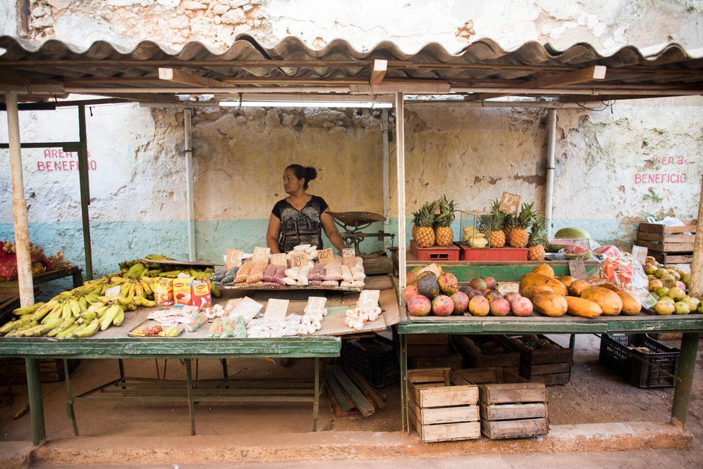 A food stand in a small market in Old Havana.